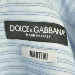 "$545 Dolce & Gabbana ""Martini"" Blue Dress Shirt"